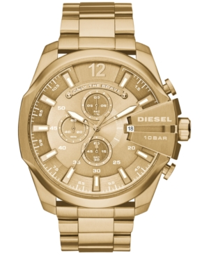 Diesel Men's Chronograph Mega Chief Gold-Tone Stainless Stee