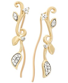 Diamond Leaf Cuff Earrings (1/10 ct. t.w.) in 10k Gold, Created for Macy's