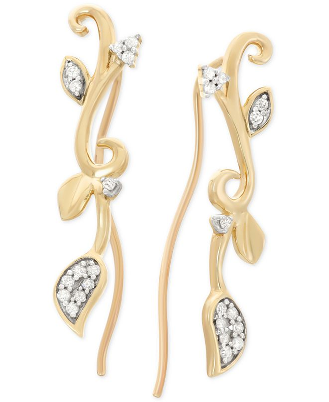 Wrapped Diamond Leaf Cuff Earrings (1/10 ct. t.w.) in 10k Gold, Created for Macy's