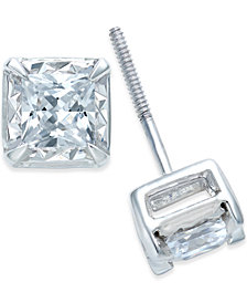 Diamond Stud Earrings 1 Ct T W In 14k White Gold