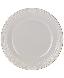 Lenox Dinnerware Stoneware French Perle Groove Dove Grey Dinner Plate, Created for Macy's