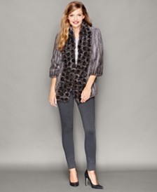 The Fur Vault Rosette Knitted Mink Fur Jacket