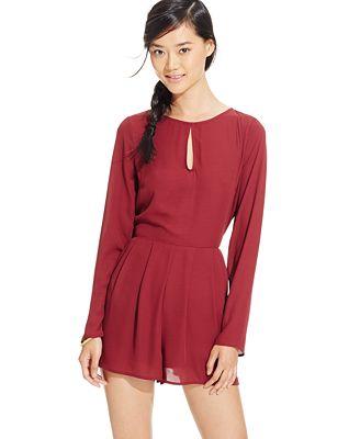 56e4192c6d1c Material Girl Juniorsu0026 39  Long-Sleeve Cutout Romper Only At ..