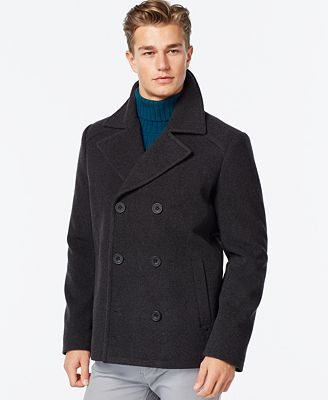 Kenneth Cole Wool-Blend Peacoat - Coats & Jackets