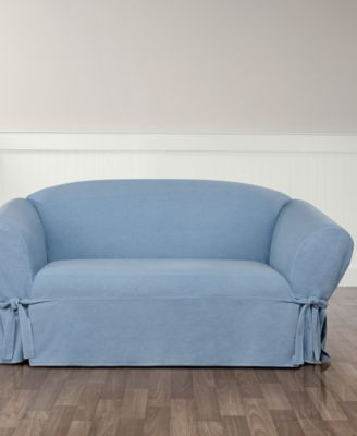 Authentic Denim One Piece T Cushion Loveseat Slipcover