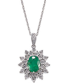 Emerald (1 ct. t.w.) and Diamond (1/5 ct. t.w.) Pendant Necklace in 14k White Gold