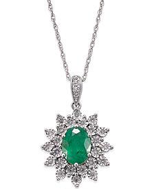 Emerald (1 ct. t.w.) and Diamond (1/5 ct. t.w.) Pendant Necklace in 14k White Gold