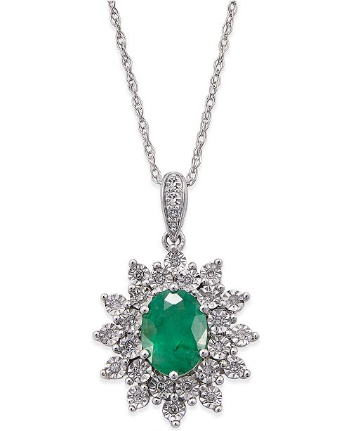 Macy's Emerald (1 ct. t.w.) and Diamond (1/5 ct. t.w.) Pendant Necklace in 14k White Gold