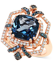 EFFY® London Blue Topaz (4-3/4 ct. t.w.) and Diamond (1/2 ct. t.w.) Ring in 14k Rose Gold