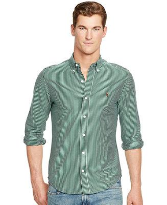 Polo ralph lauren striped knit dress shirt casual button for Polo ralph lauren casual button down shirts