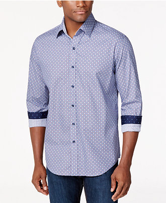Tasso Elba Medallion-Print Long-Sleeve Shirt,