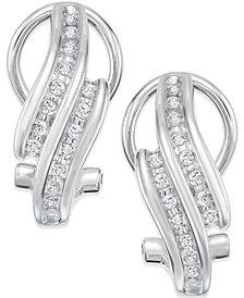 Diamond Bypass Hoop Earrings (1/4 ct. t.w.) in Sterling Silver