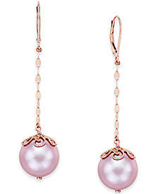 Pink Windsor Pearl (13mm) Drop Earrings in 14k Rose Gold