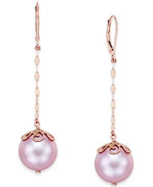 Natural Pink Windsor Pearl (13mm) Drop Earrings in 14k Rose Gold