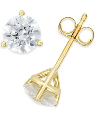 earrings set prong classic basket yellow tension gold cut diamond back stud studs view round