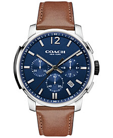 COACH MEN'S BLEEKER CHRONO RUSSET LEATHER STRAP WATCH 42MM 14602015