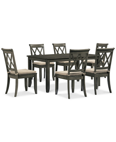 Russet 7 Piece Dining Set Dining Table And 6 Chairs Furniture Macy 39 S