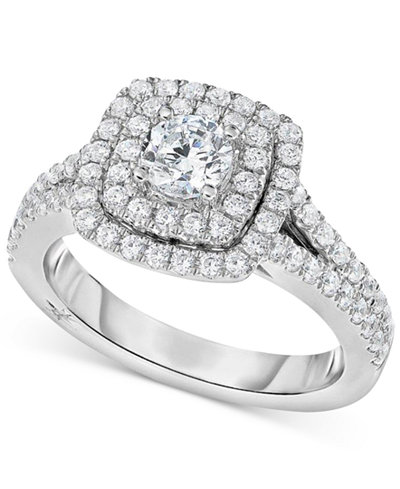 marchesa certified diamond square halo engagement ring 1 14 ct tw - Square Wedding Ring