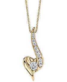 Sirena Diamond Swirled Pendant Necklace (1/4 ct. t.w.) in 14k Gold