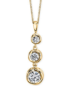 Sirena Energy Diamond Three-Stone Pendant Necklace (1/4 ct. t.w.) in 14k Yellow or White Gold
