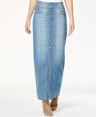 Inc International Concepts Button Front Denim Maxi Skirt