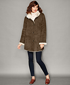 The Fur Vault Shearling Lamb Stand-Collar Coat