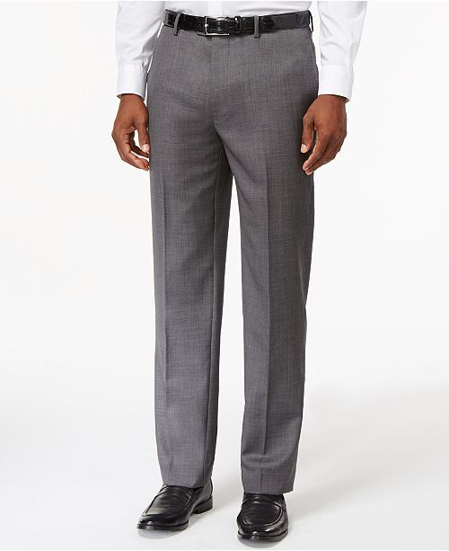 Tommy Hilfiger Solid Grey Modern-Fit Dress Pants