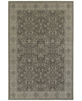 "Tidewater  Floral Sarouk Grey/Ivory 1'10"" x 3' Area Rug"