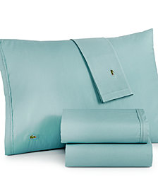 CLOSEOUT! Lacoste Solid Cotton Percale Twin XL Sheet Set