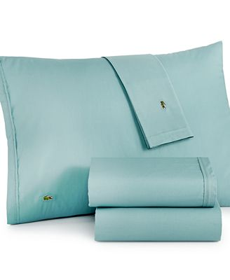 CLOSEOUT! Lacoste Solid Cotton Percale Pair of King Pillowcases