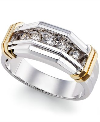 Mens Diamond Ring 12 ct tw in 10k Gold and White Gold Rings