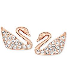 Swarovski Rose Gold-Tone Crystal Swan Stud Earrings