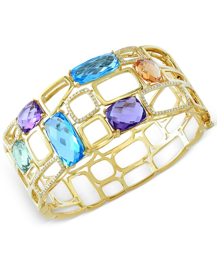 EFFY Collection - Multistone (29 ct. t.w.) and Diamond (1/2 ct. t.w.) Bangle Bracelet in 14k Gold