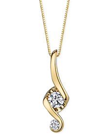 Proud Mom Diamond Swirl Pendant Necklace (1/10 ct. t.w.) in 14k Gold
