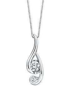 Proud Mom Diamond Swirl Pendant (1/4 ct. t.w.) in 14k White Gold