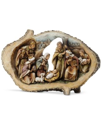 Wood Cut Oval Nativity
