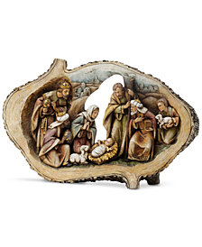 Napco Wood Cut Oval Nativity