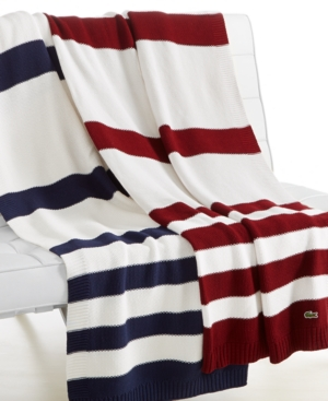 Lacoste Striped Knit Throw Bedding