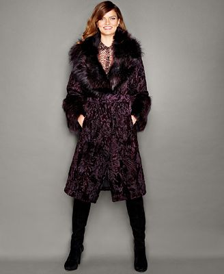 The Fur Vault Fox-Fur-Trim Swakara Lamb Fur Coat - The Fur Vault ...