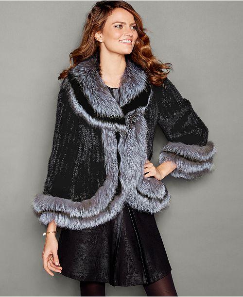 Fox-Fur-Trim Knitted Mink Fur Jacket