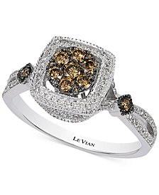 Le Vian Chocolatier® Chocolate Deco Estate™ Diamond Ring (5/8 ct. t.w.) in 14k White Gold