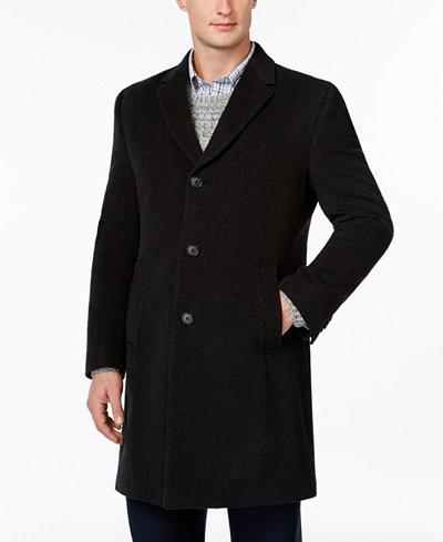 Tommy Hilfiger Barnes Cashmere-Blend Overcoat Trim Fit - Coats ...