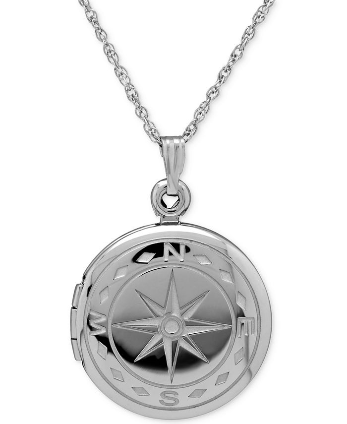 Macy's - Compass Locket Necklace in Sterling Silver