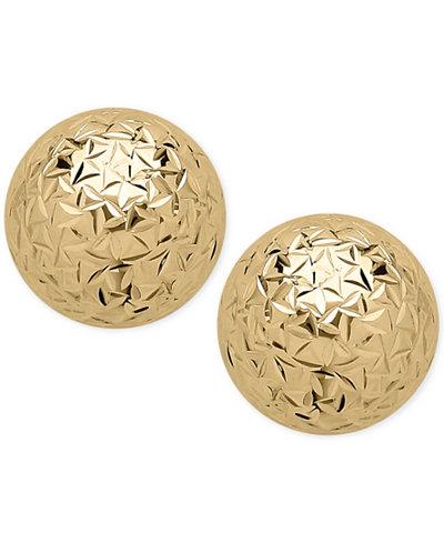 Crystal-Cut Ball Stud Earrings (10mm) in 14k Gold