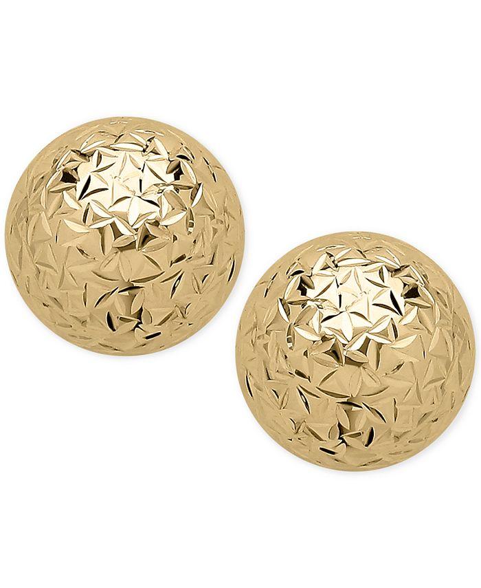 Macy's - Crystal-Cut Ball Stud Earrings (10mm) in 14k Gold