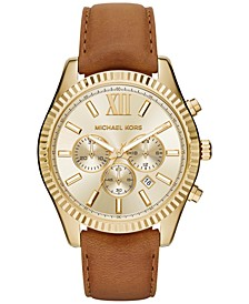 Men's Chronograph Lexington Beige Leather Strap Watch 44mm MK8447