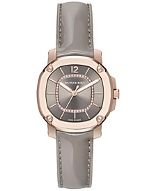 Women's Swiss The Britain Diamond Accent Gray Leather Strap Watch 34mm BBY1810