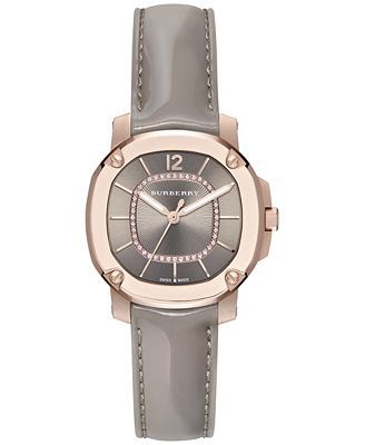 Burberry Women's Swiss The Britain Diamond Accent Gray Leather Strap Watch 34mm BBY1810