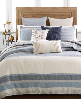 Linen Stripe Full/Queen Duvet Cover, Created for Macy's