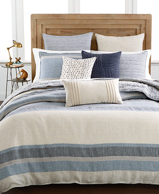 hotel collection linen stripe full queen duvet cover created for macy 39 s bedding collections. Black Bedroom Furniture Sets. Home Design Ideas